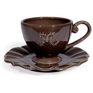 Maisons du monde - tasse et soucoupe à thé marron bourgeoisie - Tasse À Café