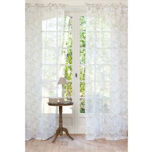 Maisons du monde - rideau roseraie voile beige - Rideaux À Lacettes