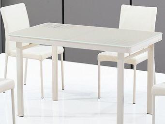 CLEAR SEAT - table en verre luna blanc crème - Table De Repas Rectangulaire