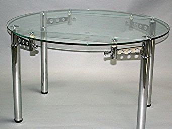 CLEAR SEAT - table ronde en verre à rallonge extensible strass  - Table De Repas Ronde