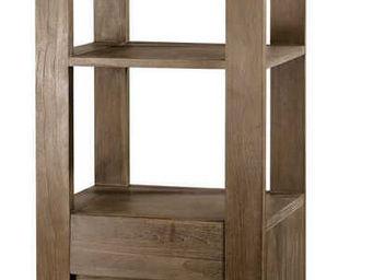 ZAGO - colonne 1 tiroir-1 porte en teck teinte - Colonne De Rangement Double De Salle De Bains