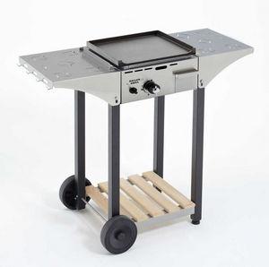 Roller Grill - desserte pour plancha 40cm en inox et bois - Plancha