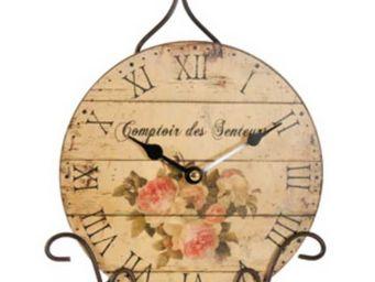 Antic Line Creations - horloge à poser comptoir des senteurs 30x22,5x9cm - Horloge De Cuisine