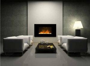 CHEMIN'ARTE - cheminée design black screen en acier et verre tre - Cheminée Sans Conduit D'évacuation