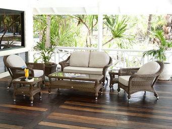 Alexander Rose - salon complet colonial 7 éléments en aluminium et  - Table Basse De Jardin