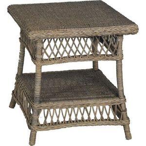 Aubry-Gaspard - table d'appoint polo en rotin gris - Table Basse De Jardin