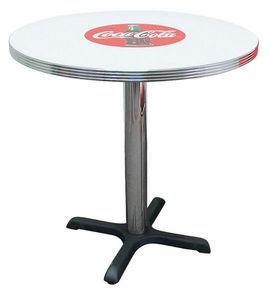 US Connection - table de cuisine coca cola 76 cm ronde - Table Bistrot