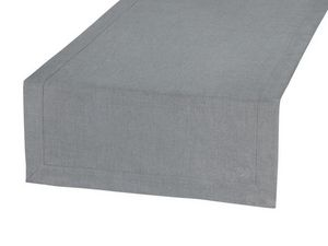 BLANC CERISE - vis-à-vis gris - lin déperlant - bicolore, brodé - Chemin De Table