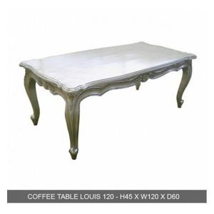 DECO PRIVE - table basse baroque bois 120 cm argente - Table Basse Rectangulaire
