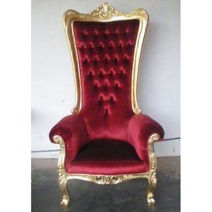 DECO PRIVE - trone royal princier velours rouge theatre et bois - Fauteuil