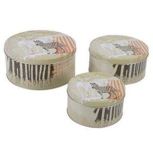 WHITE LABEL - lot de 3 boites à biscuits gigogne savane - Boite À Biscuits
