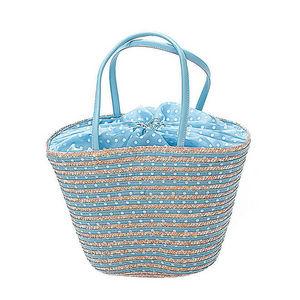 WHITE LABEL - sac panier paille naturelle et rayée de tissu à po - Cabas