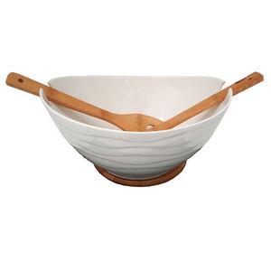 WHITE LABEL - plat de service en porcelaine sur plateau en bambo - Saladier
