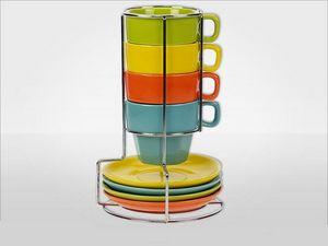 WHITE LABEL - ensemble de 4 mugs et soucoupes en gr�s avec suppo - Porte Tasses