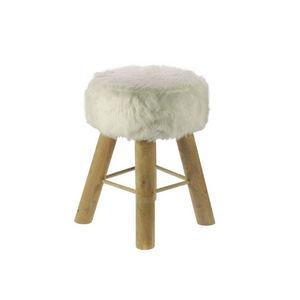 WHITE LABEL - tabouret en bois recou de fourrure - Tabouret