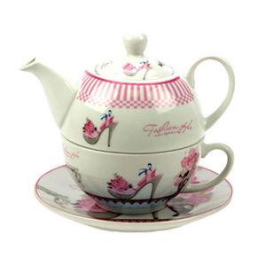 WHITE LABEL - théière égoïste en porcelaine avec tasse et soucou - Service À Café