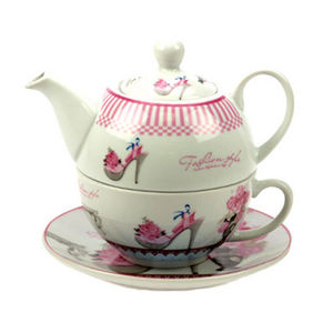 WHITE LABEL - th�i�re �go�ste en porcelaine avec tasse et soucou - Service � Caf�