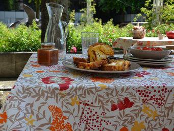 FLEUR DE SOLEIL - nappe enduite mimosa rouge 160x160 - Nappe Rectangulaire