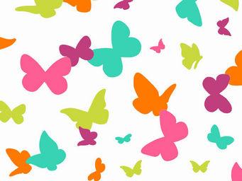 FLEUR DE SOLEIL - tissu papillons multicolore 160x160 - Tissu D'ameublement