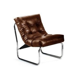 KOKOON DESIGN - fauteuil salon design en similicuir et métal chro - Fauteuil