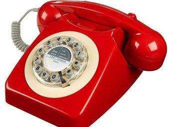 WHITE LABEL - téléphone 746 rouge - Téléphone Décoratif