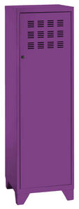 PHSA - armoire 1 porte en m�tal prune 40x40x134cm - Armoire Dressing