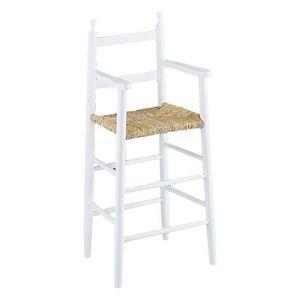 Aubry-Gaspard - chaise haute pour enfant en h�tre blanc - Chaise Haute Enfant