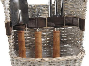 Aubry-Gaspard - panier 3 outils de jardinage en osier gris - Kit De Jardinage