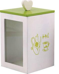 Aubry-Gaspard - bo�te � th� vert et blanc en bois 12x20x12cm - Boite De Rangement