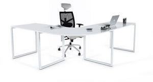 KOKOON DESIGN - bureau d'angle blanc laqué en bois et métal 230x2 - Bureau