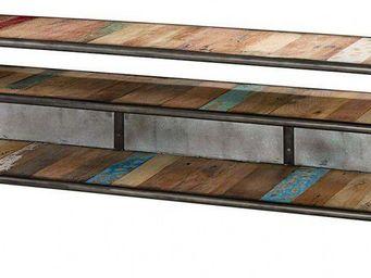 ZAGO - meuble tv 2 niches vintoba en bois recyclé 160x40x - Meuble Tv Hi Fi