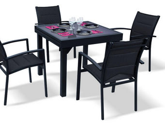 WILSA GARDEN - salon de jardin modulo noir 4 personnes en alumini - Salle À Manger De Jardin