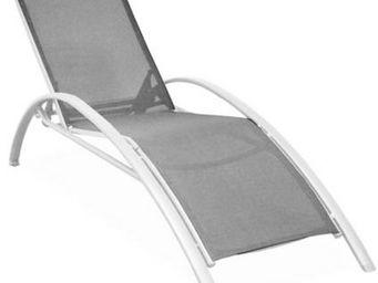 PROLOISIRS - lit de jardin sartene en aluminium et textil�ne gr - Chaise Longue De Jardin