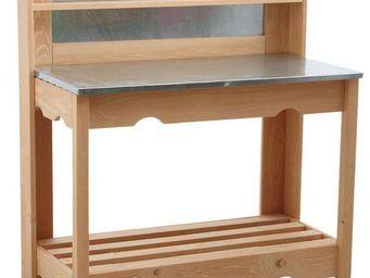 BARCLER - table � plancha en bois et zinc 102x120x50cm - Cuisine D'ext�rieur