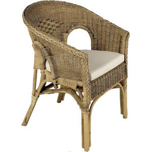 Aubry-Gaspard - fauteuil marron en rotin patiné 57x57x80cm - Fauteuil De Jardin