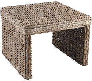 Aubry-Gaspard - table d'appoint carr�e en poelet gris - Table D'appoint