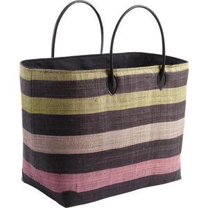 Aubry-Gaspard - sac de plage en rabane avec coins renforc�s - Cabas
