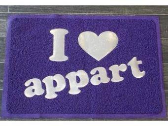 Cm - paillasson i love appart - couleur - violet - Paillasson