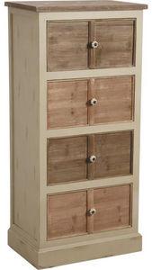 Aubry-Gaspard - commode 4 tiroirs en pin et poignées céramique - Colonne De Rangement Simple De Salle De Bains