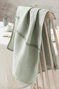 Couleur Chanvre - vert amande dentelle - Torchon