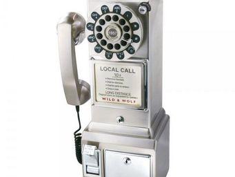 WHITE LABEL - téléphone mural rétro chrome - Téléphone Décoratif
