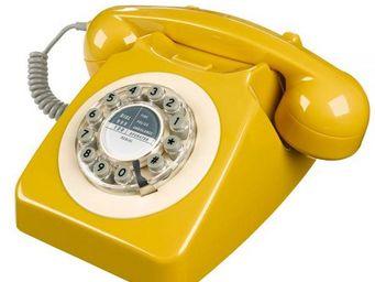 WHITE LABEL - téléphone 746 jaune moutarde - Téléphone Décoratif