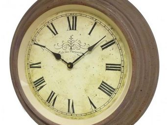 L'HERITIER DU TEMPS - horloge murale fer bordeaux 45 cm - Horloge Murale