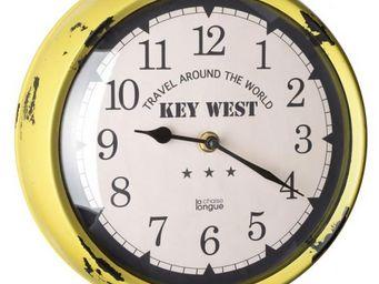 La Chaise Longue - horloge murale keywest jaune - Pendule Murale