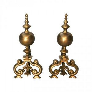 Demeure et Jardin - paire de chenets en bronze style régence - Chenets