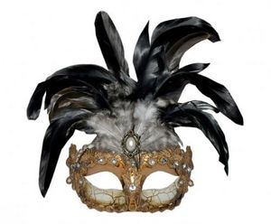 Demeure et Jardin - masque or et argent emplumé - Masque