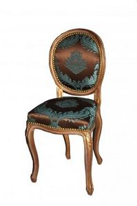 Demeure et Jardin - chaise transition dor�e damas chocolat turquoise - Chaise M�daillon
