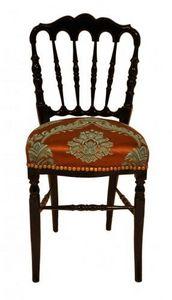 Demeure et Jardin - chaise napoleon iii avec tissu imprimé marron et t - Chaise