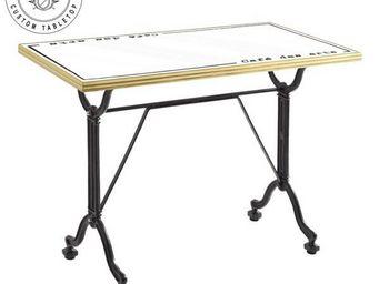 Ardamez - table de repas émaillée blanc / laiton / fonte - Table De Repas Rectangulaire