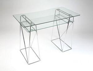 WHITE LABEL - light bureau en verre et m�tal chrom� pour ordinat - Bureau